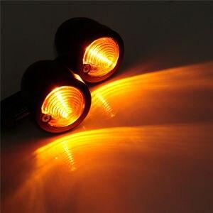 Image 2 - Yetaha 2Pcs Motorcycle Turn Signals Light Cafe Racer Mini Black Bullet Blinker Amber Indicator Lamp For Yamaha Honda Suzuki