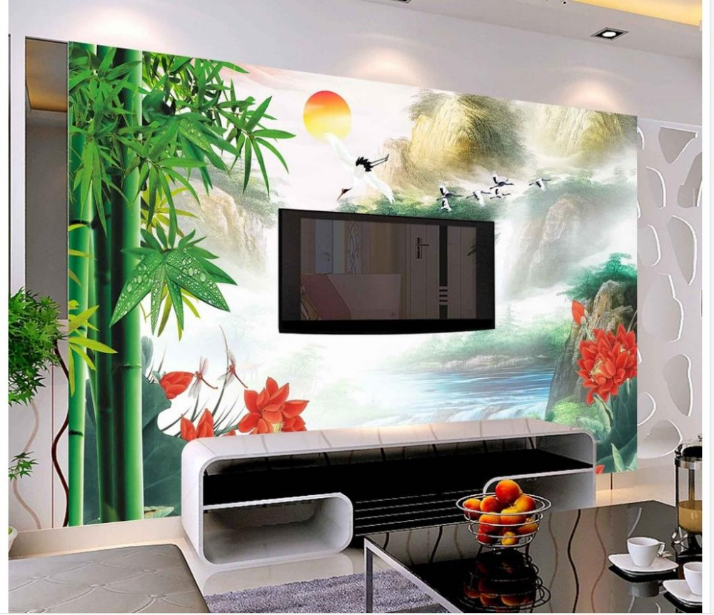 3d Wallpaper For Room Home Decoration Bamboo Mountain Water Tv Wall Light Tent Shed Photo Cube Softbox With 4 Colored Background 80 X Custom