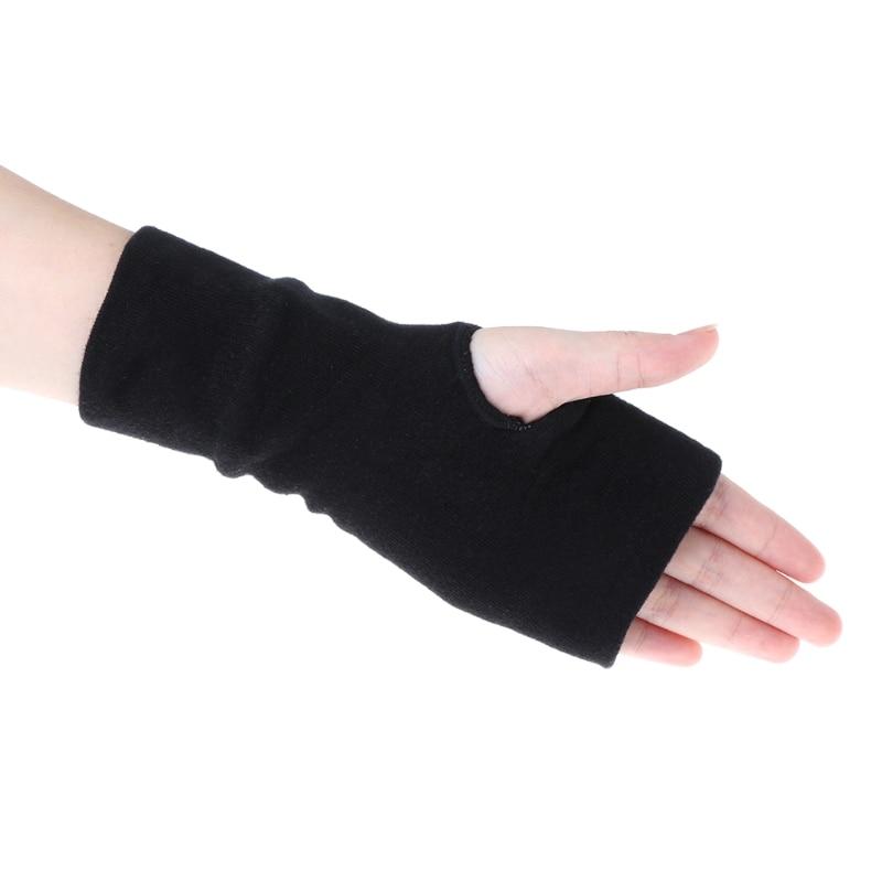 2020 Black Fashion Unisex Men Women Winter Gloves Soft Warm Mitten Knitted Fingerless Solid Black Soft