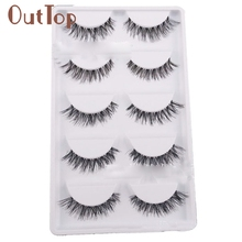 Big sale! 5 Pair/Lot Crisscross False Eyelashes Lashes Voluminous HOT eye lashes Women Lady Lot Black Cross False Eyelashes F906