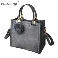 PinShang Women High Grade Solid Color Embossed Handbag Short Bag With Cute Wool Ball High Quality
