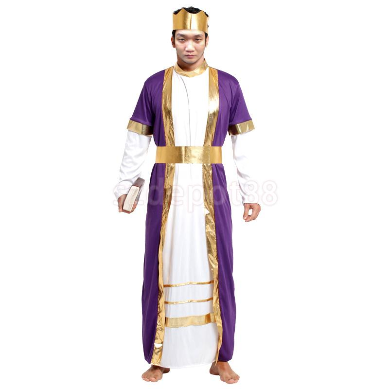 Adults Kings Robe Costume and Crown for Men Halloween Cosplay Hen Party Supplies