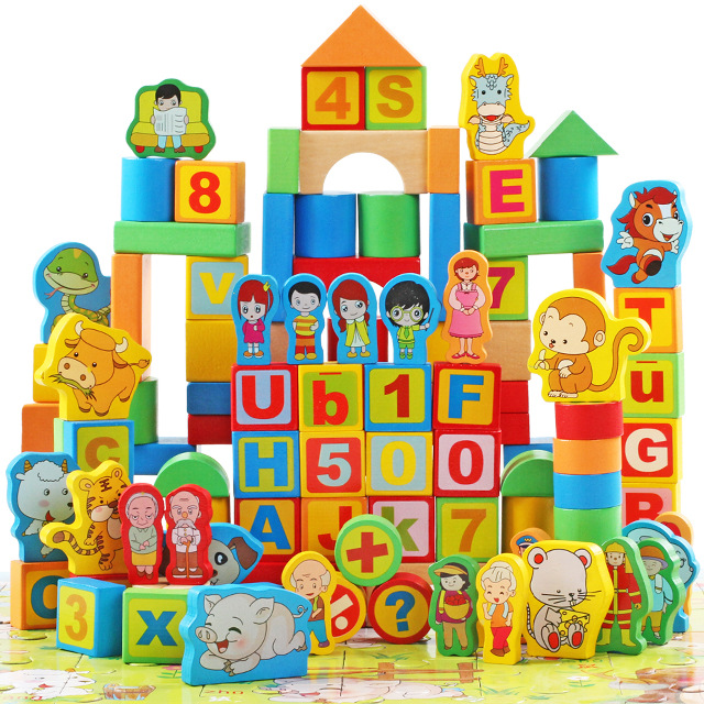 EFHH 200Pcs/Set Wooden Two Scene Barreled Building Blocks Children Kid Early Childhood Educational Toys Drop Shipping free shipping 50 high quality color geometric shapes assembled building blocks early childhood educational wooden toys