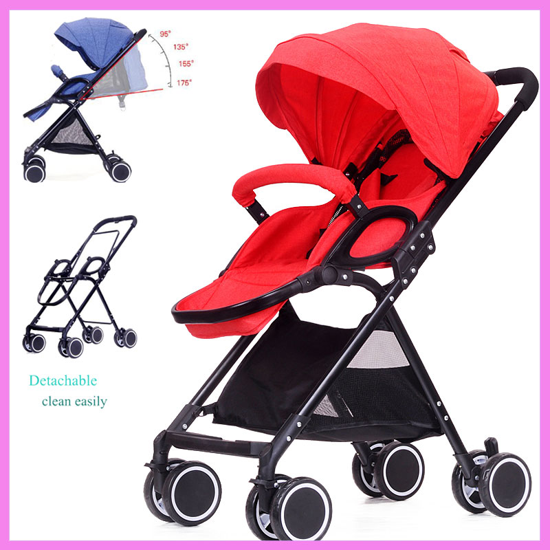 175 Degree Lying High Landscape Lightweight Baby Stroller Portable Folding Travel Car Baby Stroller Airplane Pram Pushchair 0~3Y folding baby stroller lightweight baby prams for newborns high landscape portable baby carriage sitting lying 2 in 1