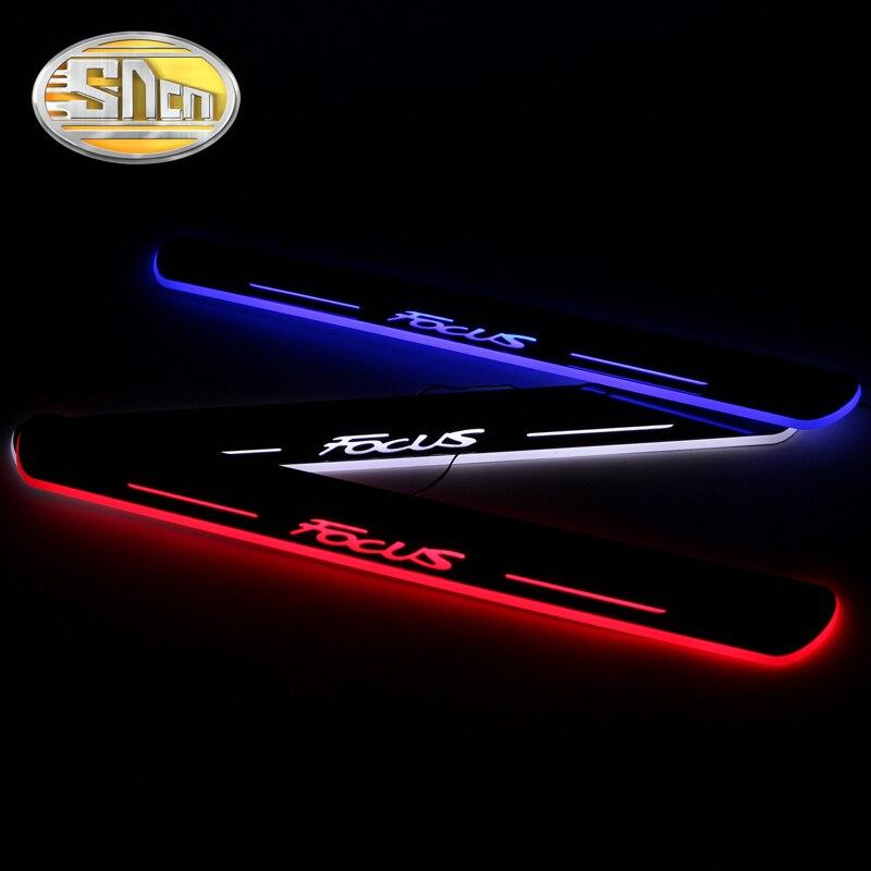 Sncn 4 pçs carro led peitoril da porta para ford focus 2 3 4 mk2 mk3 mk4 ultra-fino acrílico dinâmico led luz de boas-vindas pedal placa de chinelo