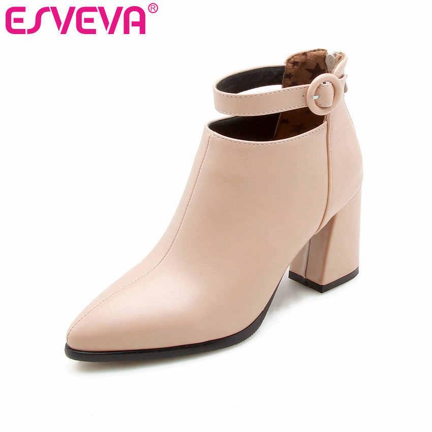 ESVEVA 2020 Kadın Botları PU Deri Sonbahar Ayakkabı yarım çizmeler Sivri Burun Kare Yüksek Topuklu Zarif Kadın Ayakkabı Boyutu 34- 43