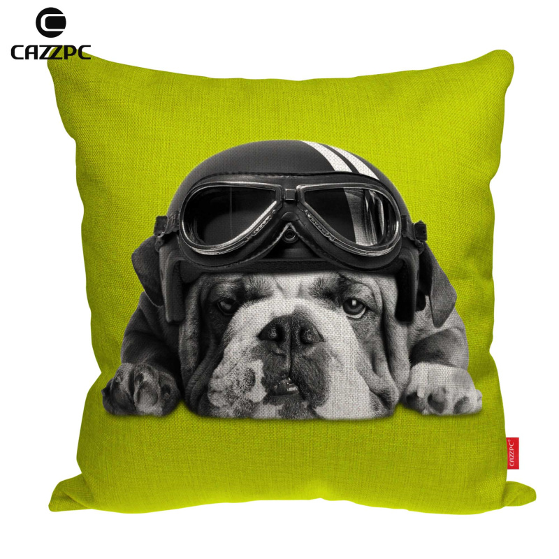 Classic Cute Yellow Blue Green Funny Bulldog Dog Print Linen Car Sofa Chair Decorative Throw Pillowcase Cushion Cover Home Decor