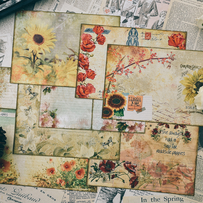 KSCRAFT Vintage Flowers Material Paper Set for Scrapbooking DIY Projects/Photo Album/Card Making CraftsKSCRAFT Vintage Flowers Material Paper Set for Scrapbooking DIY Projects/Photo Album/Card Making Crafts
