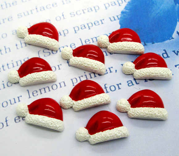 20Pcs Resin Christmas Hats Crafts Flatback Cabochon Scrapbooking Decorations Fit Hair Clips Embellishments Beads Diy