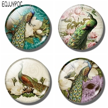 Peafowls Fridge Memo Victorian Peacock Refrigerator Magnets Glass Dome Cartoon Animals 30 MM Round Pavonini Magnetic Stickers