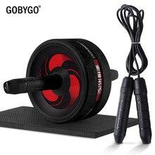 GOBYGO 2 в 1 ролик для пресса и Скакалка без Шум брюшной колесо ролик для пресса с коврик для упражнений Фитнес