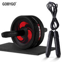 GOBYGO 2 in 1 Ab Roller & Jump Seil Keine Lärm Bauch Rad Ab Roller mit Matte für Übung Fitness