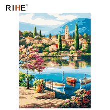 RIHE Lakeside Town Diy Painting By Numbers Boat Oil On Canvas Hand Painted Cuadros Decoracion Acrylic Paint Home Decor