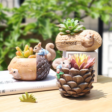 Squirrel Design Flower Pot Peanut Walnut Flowerpot Mini Bonsai Planter Home Decorative Acorn Craft