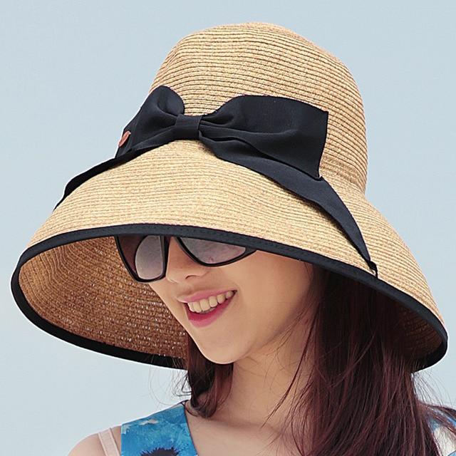 2016 New Lady Sun Hat Summer Straw Hat Women Folded Wide Brim Sun Cap Elegant Travelling Hat New Headwear B-1964