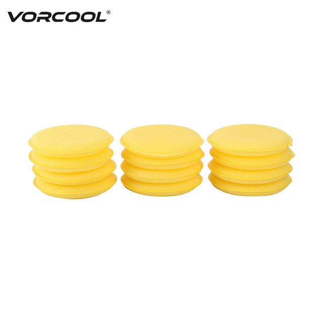 VORCOOL 12Pcs Auto Car Cleaning Waxing Polish Wax Foam Sponge Applicator Pads 10CM Yellow Clean Sponge Cleaning Tools Car Care