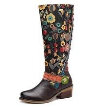 Johnature Vintage 2020 ของแท้ใหม่เข่าสูงรองเท้าผู้หญิงLace Upฤดูใบไม้ร่วงรองเท้าผู้หญิงรองเท้าผู้หญิงดอกไม้Booties