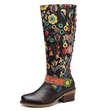 Johnature Vintage 2020 New Genuine Leather Knee High Boots for Women Lace up Autumn Ladies Shoes Woman Flower Booties