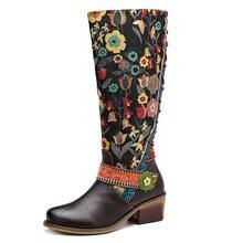 Johnature Vintage 2020 nouveau en cuir véritable genou bottes hautes pour les femmes à lacets automne dames chaussures femme fleur chaussons