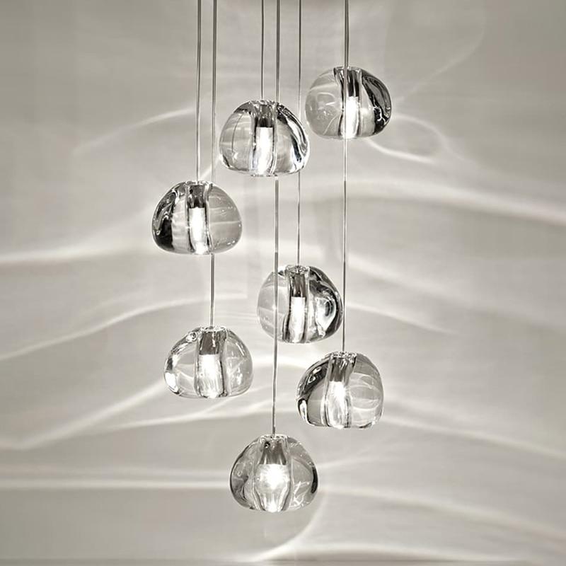 Modern loft chandelier lighting lustre cristal balls kitchen villa living room hanging lamp staircase long crystal chandeliers