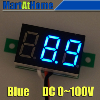 Argedo 50PCS/lot Blue DC 0~100V 3-wires Digital Voltmeter Volt Panel Meter Reversal Protection #BV190 @SD