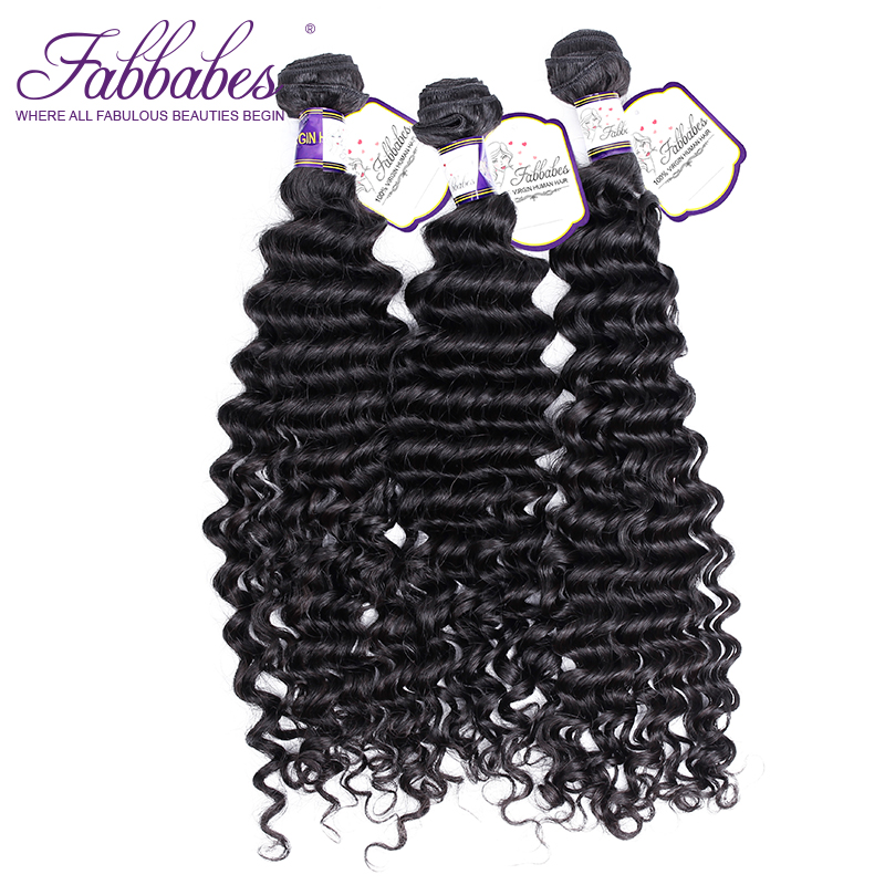 Fabbabes Hair Products Indian Deep Wave Hair Bundles 100% Human Hair Weave Free Shipping Virgin Hair Natural Color