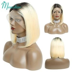Image 2 - Monstar 613 Blonde Spitze Front Perücke 13x6 Kurze Bob Perücke Malaysische Gerade Remy 1B 613 Ombre Blonde Farbe spitze Front Menschliches Haar Perücke