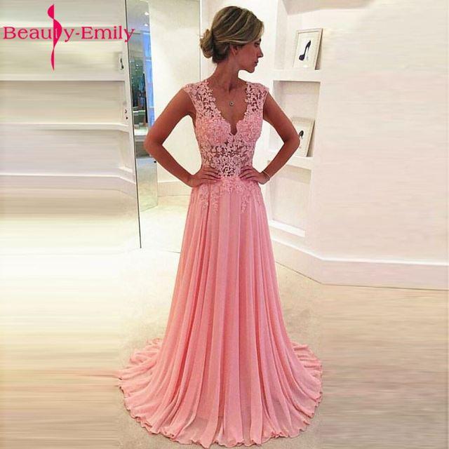 Comprar ahora Belleza-emily Apliques de Encaje Una Línea de vestido ...