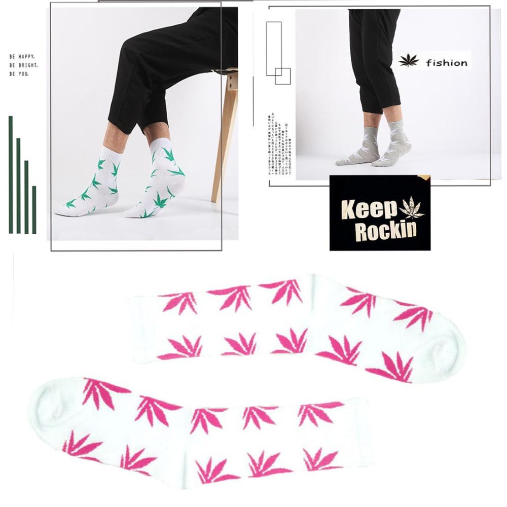 Fashion 1Pair Comfortable High Quality socken Cotton Socks Maple Leaf Casual Long Weed Crew Sock hemp socks funny socks