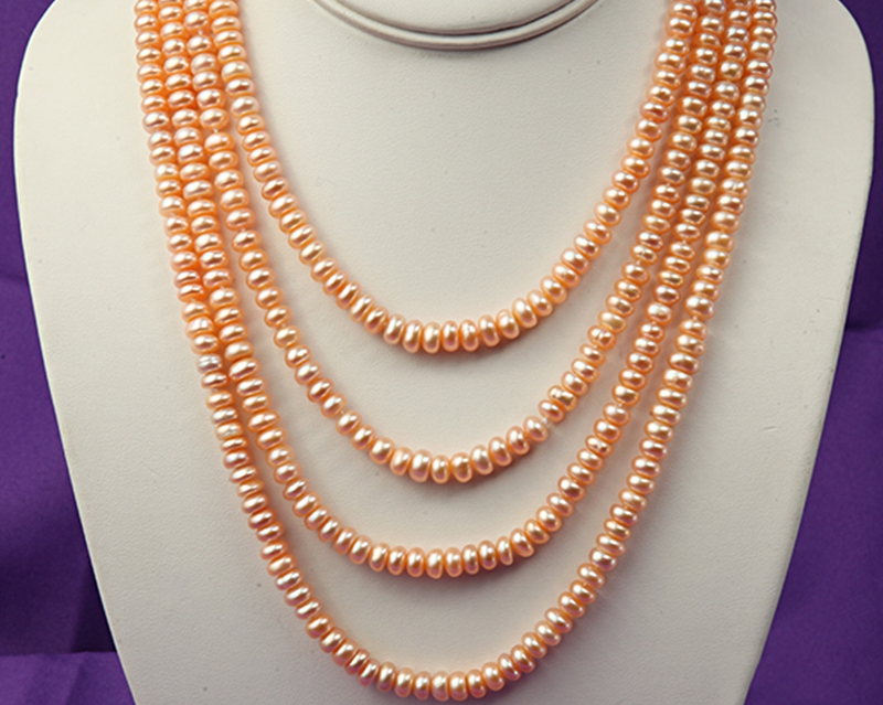 Natural Pearl Necklace Multi-row Near Round Pink Freshwater Cultured Pearl Necklace Party Wedding Mother Gifts 80 inchesNatural Pearl Necklace Multi-row Near Round Pink Freshwater Cultured Pearl Necklace Party Wedding Mother Gifts 80 inches
