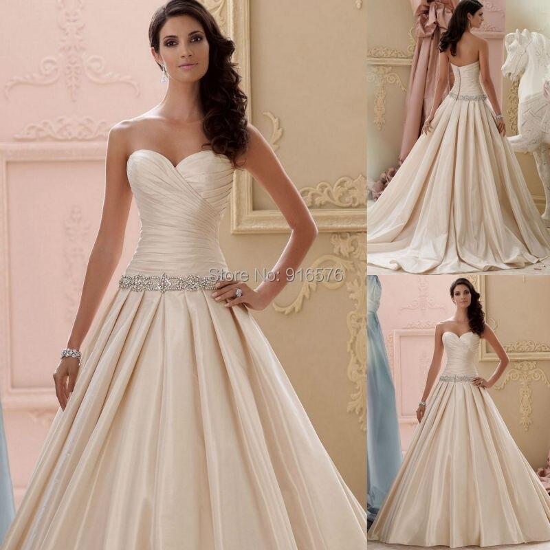 Wedding Gowns For 2015: Champagne Taffeta Wedding Dress 2015 Slim A Line Bridal