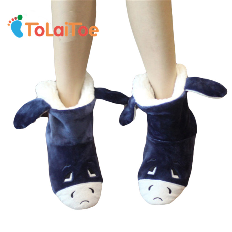 ToLaiToe Vinter bomullspåstryckt Kvinnorpaket med tofflor bomullspläterade skor högt termiska bomullspläterade skor tofflor kort