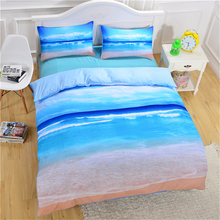 Deluxe 1.8m Bedding Three-piece set of beach Ocean covers pillowcases kit student dormitory single double oversized home textile
