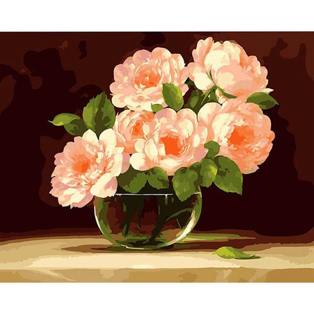 Kit De Peinture Acrylique Numérique Fleur De Pivoine Rose 4050 Cm