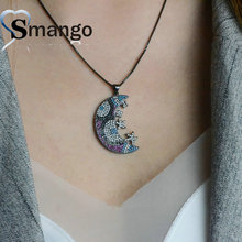Women Fashion Shape of Moon Connectors CZ Prong Setting Necklace,three Plating Colors,Can Mix 5Pieces