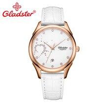 Gladster водонепроницаемые сапфировые хрустальные женские часы модные повседневные кожаные кварцевые наручные часы с одним календарем