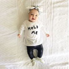 2016 Baby Toddler Girl Boy HOLD ME T-shirt Tops Clothes+ PU Leather Pants Outfit