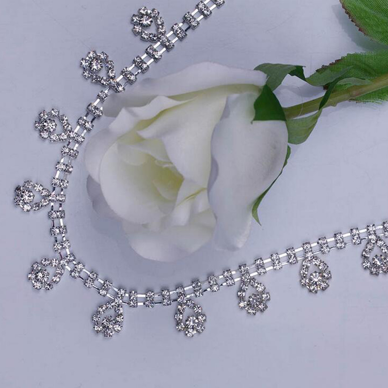 10 Yards Bling Water Drop Clear Crystal Silver/Gold Rhinestone Trims Trimming For Bags, Garment, Shoes Decoration AIWUJIA