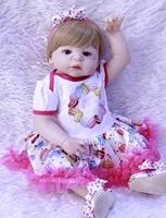 DollMai bebes reborn 23 full silicone reborn baby girl dolls toys for children gift bear pacifier can bathe newborn princes BJD