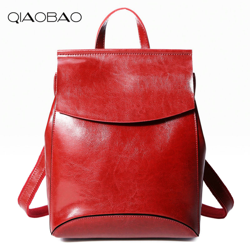 QIAOBAO 100% Genuine Leather Backpack Women Casual Fashion Cowskin Backpack Teenage Girls School Travel Bags Shoulder Bag nice new casual girls backpack genuine leather fashion women backpack school travel bag teenagers girls cowhide shoulder bags