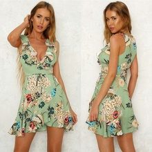 ZOGAA Women Sexy Boho Floral Mini Dress Summer Evening Party Beach Sleeveless Sundress Colorful Drop Ship