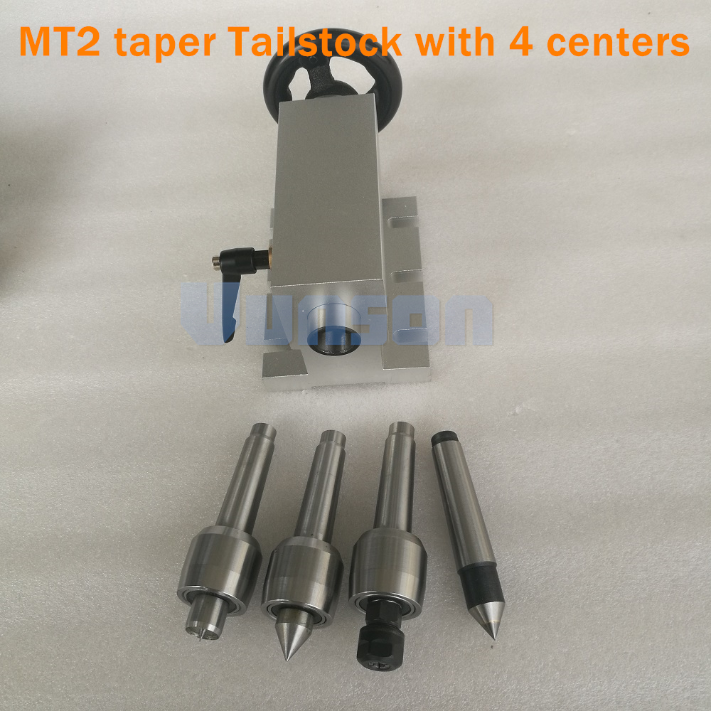 Removable And Replaceable MT2 Morse 2# Taper Shank Live Center Tailstock Kits Including 4pcs Centers For Desktop CNC Router