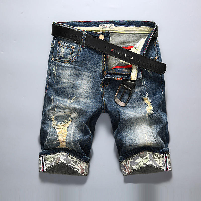 Ripped Jeans Denim Shorts Elasticity Male Men's Fashion Casual Summer New Old Slim Brand