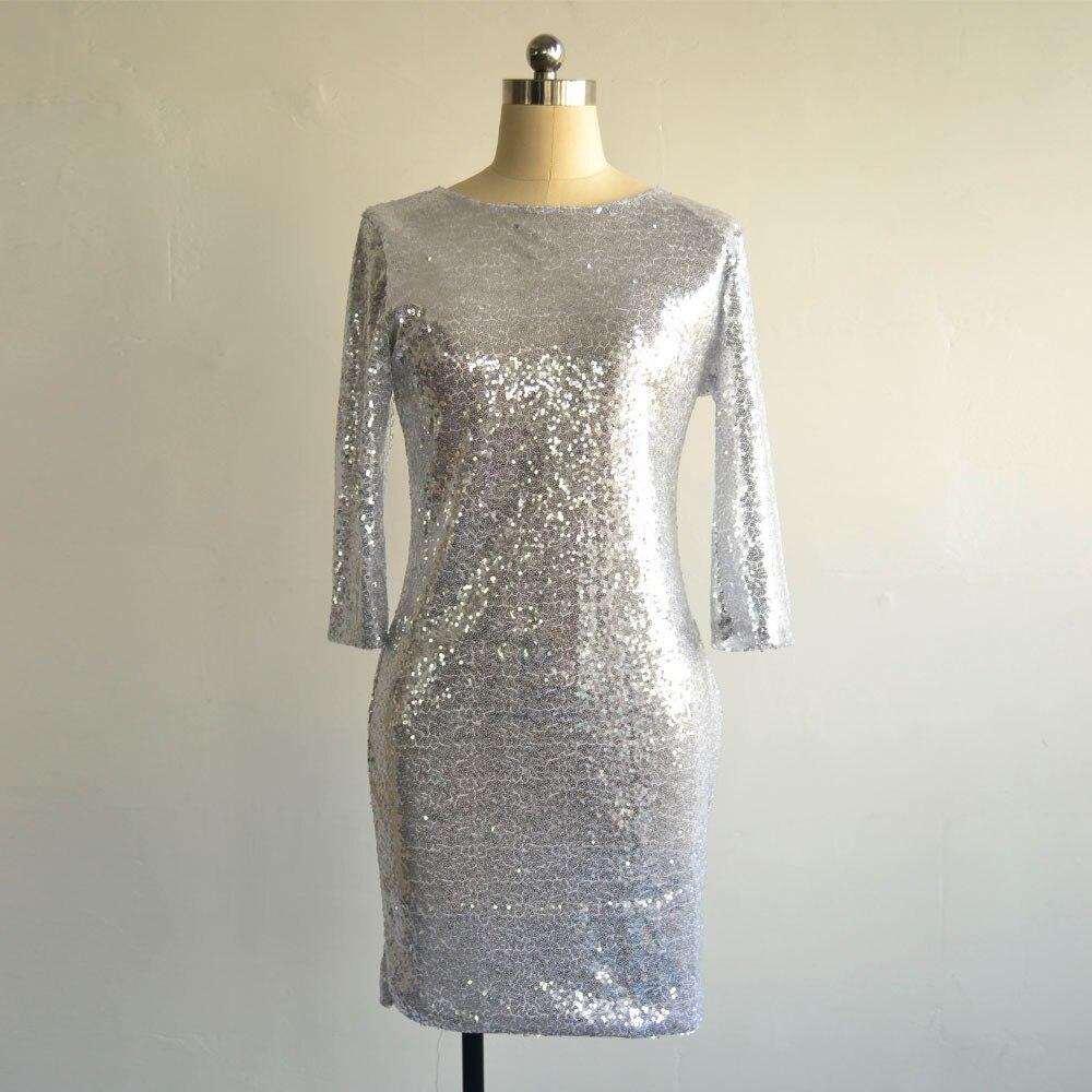 2016 новый летний женский стиль, платье с о-образным вырезом с длинным рукавом, блестящее платье с открытой спиной, тонкое облегающее карандаш платье, модные платья