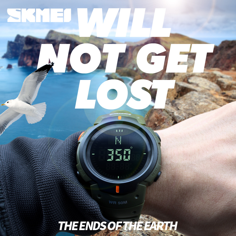 <font><b>SKMEI</b></font> <font><b>1231</b></font> Compass Watch Multifunction Digital Watches Mens Countdown Summer Time Timekeeping Wristwatches LED Relogio Masculino image