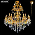 Luxurious Gold Large Crystal Chandelier Lamp Crystal Lustre Light Fixture 29 Arms Hotel Lamp Hanging Chandelier Lighting