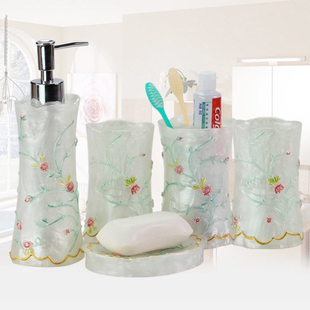 Upscale European-style resin bathroom five-piece toilet Bathroom supplies four-pack tooth toothwashing cup wash set lo831110 simple bathroom ceramic wash four piece suit cosmetics supply brush cup set gift lo861050