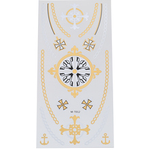 Cross Cool Tattoo Stickers Gold and Silver Black Disposable Flash Accessories Clavicle Neck Tatoos