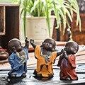1 stücke Tee Haustiere Buddha Keramik Buddhistischen Mönch Figur Indien Lila Sand Tee Haustier Kleine Buddha Statue Mönch Figur Startseite dekoration