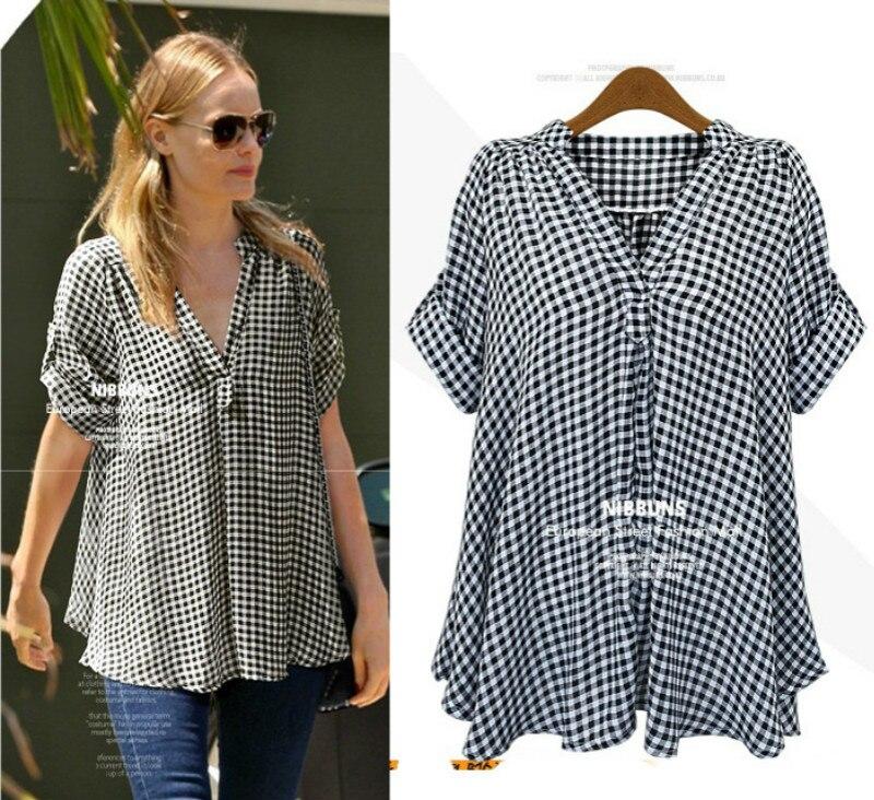 Streetwear Chemise de grande taille Chemise à carreaux bouton Chemise Femme Nouveau 2019 col en V à manches longues printemps été femmes vêtements Xxxxxl